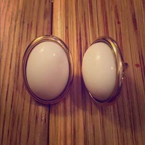 Trifari signed white and gold stud earrings